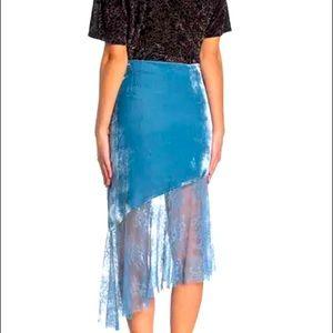 Free People My Lacey Velvet Midi Skirt nwt